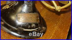 MENOMINEE ELECTRIC STAGHORN ANTIQUE Brass Blade Fan