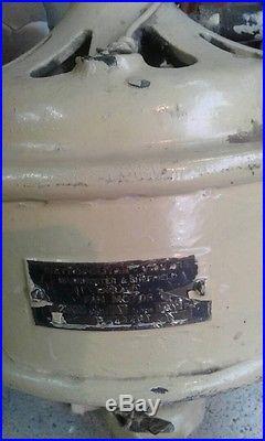 METROVICK ANTIQUE ART DECO CAST IRON DC ELECTRIC CEILING FAN 1920s RARE ENGLAND