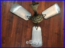 Marelli Maestralino Junior Antique Art Deco Cast Iron Electric Ceiling Fan Rare