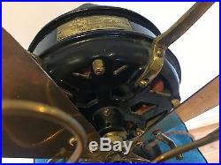 Menominee Brass Electric Fan Old Motor 12 Antique Vintage Early