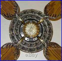 Moss Heirloom Olympus Ceiling Fan Vintage 1980 Ornate Cast Metal Antique Brass