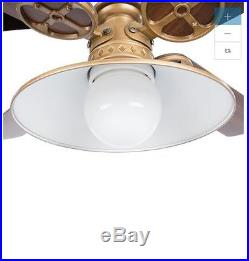 NEW 52 In Vintage Antique Electric Remote Light Brass Ceiling Fan 4 Blades