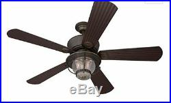 NEW Antique Vintage Electric Bronze Ceiling Fan LED Light 52 In 5 Blades Remote