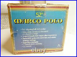 NEW Marco Polo 52 Antique Brass Ceiling Fan withCane Insert Blades and Light Kit