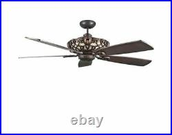 NEW Vintage Antique Electric 60 In Ceiling Fan 5 Blades Blade Oil Rubbed Bronze