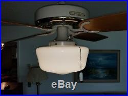 New Vintage Brass 1960 Hunter Ceiling Fan w Antique Globe & Remote Control