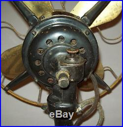 Old antique vtg 1910's Western Electric Fan 12 Inch Brass Blades and Cage Scarce