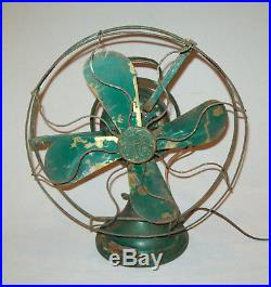 Old antique vtg 1920's General Electric Fan 12 Brass Blades No 75423 Working