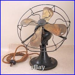 Original Antique GE Whiz Fan Brass Blade 1920s General Electric Oscillating Vtg