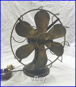 Original antique 6-blade Westinghouse Fan Brass Cage & Blades runs smooth! Vtg