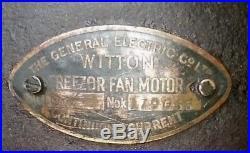 RARE 1900s GEC WITTON FREEZOR FAN MOTOR ANTIQUE CAST IRON BRASS DESK WALL MOUNT