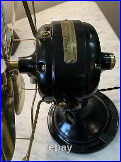 RARE 1901 GE BRASS FANFULLY RESTORED & NEW Antique-look WIRING 3 SPEED
