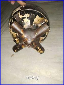 RARE 1910s Dayton Antique Art Deco Cast Iron DC Motor Ceiling Fan Wooden Blades