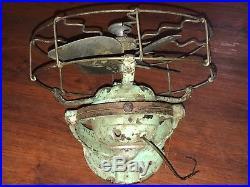 RARE 1910s MEI KASSELS BALL MOTOR FAN ANTIQUE TRAIN CAST IRON BRASS CEILING WALL