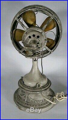 RARE ADAM CRUCET Antique Vintage Western Electric Fan 5-Brass Blade WORKS 8