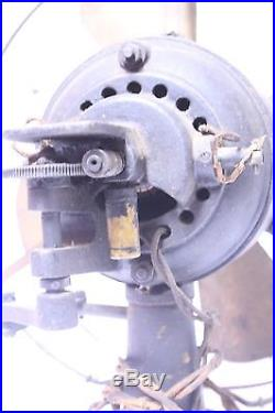 RARE ANTIQUE FIDELITY LANCASTER PA 3 SPEED BRASS BLADE BRUSH MOTOR ELECTRIC FAN