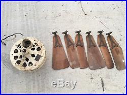 RARE Antique Emerson 6 Blade Vintage Ceiling Fan With Brackets Blades MOTOR RUNS