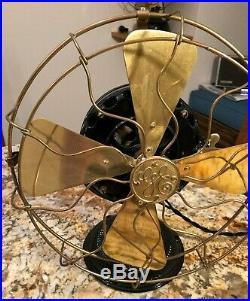 RESTORED antique GE brass blade cage PANCAKE MOTOR GENERAL ELECTRIC FAN 1901
