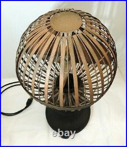 Rare 1920s vtg SAVORY AIRATOR Bankers Desk FAN Art Deco GLOBE Cage Aerator as-is