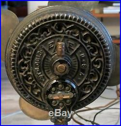 Rare Antique 1899 Emerson FI 1 Tripod Electric Brass Blade Desk Fan