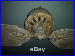 Rare Antique 2 Blade Cast Iron Brass DC Ceiling Fan Diehl Tuerk Emerson Hunter