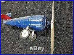 Rare Antique Art Deco Machine Age 1930's GE Blue Grass Airplane type Ceiling Fan
