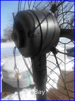 Rare Antique Eskimo Single Propeler Art Deco Industrial Spider Web Floor Fan