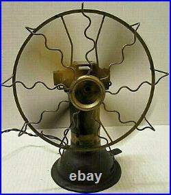 Rare Odd Early Unusual Antique Brass Blade Two Speed Electric Desk Fan