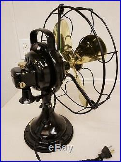 Restored Antique General Electric 12 Brass Blade Oscillating fan