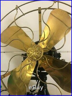 Restored Antique Original GE 18 Sidewinder Brass Blade/Cage Desk Fan