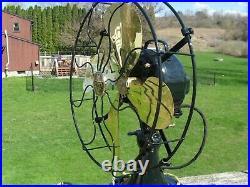 Restored antique Emerson 29646 brass blade 3 speed oscillating electric fan LOOK