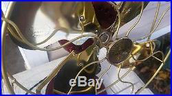 Restored antique emerson 27646 `12 brass blade oscillating fan