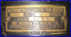 Robbins & Myers Brass Blade Cage Fan Model 1404 Tank Fan Antique Vintage 1911