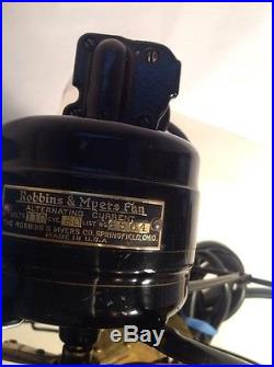 Robbins & Myers Electric Fan 12 Brass Vintage Antique Old Motor, Ohio Great