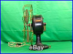 TESLA Antique Brass Blade & Cage Westinghouse Electric Fan Fancy Base Rare Early