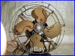 ULTRA RARE EARLY # 19645 EMERSON Jr 9 Brass Blade & Cage Fan Antique Vintage