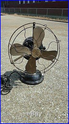 Vintage Antique Ge Fan 12 Brass Blade Fan Brass Cage & Struts #439111 1901