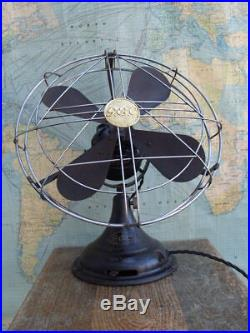 VTG 1930s 40s ART DECO GEC WAR FINISH 3 SPEED ELECTRIC 14 DESK FAN WW2 WW11 GWO