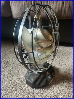 VTG 1930s Antique 10 Silver Swan Oscillating Fan Model 5250D Single Speed