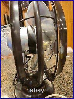 VTG 1937 Antique 10 Silver Swan Oscillating Fan Model 5250C Single Speed Smooth