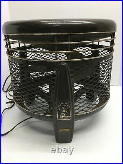 VTG Emerson Electric Round Floor Fan Antique USA Metal Foot Stool-Works Great
