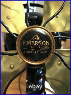 Vintage 1920's 16 EMERSON FAN 29648, Brass Blades, Original components-WORKS