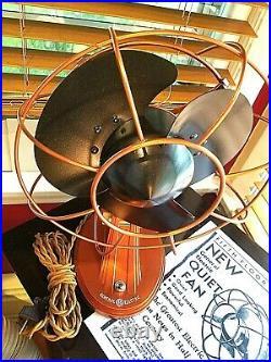 Vintage 1930's GE Cat. 55X164B Electric Fan, Art Deco, Copper Color, Refurbished
