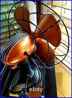 Vintage 1950's Art Deco Westinghouse Electric Fan, Copper Color, Refurbished