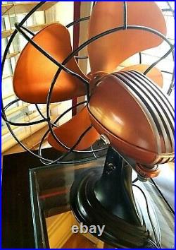 Vintage, 1950's Art Deco Westinghouse Electric Fan, Sunset Orange, Refurbished