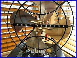 Vintage 1950's Westinghouse Electric Fan Art Deco, Dark Rootbeer, Refurbished