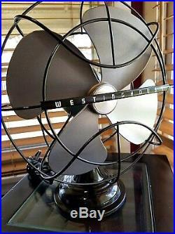 Vintage 1950's Westinghouse Electric Fan Art Deco, Mint Pearl color, Refurbished