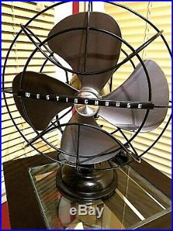 Vintage 1950's Westinghouse Electric Fan Art Deco, Pewter color, Refurbished
