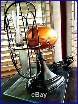 Vintage 1950's Westinghouse Electric Fan Art Deco, Root Beer color, Refurbished