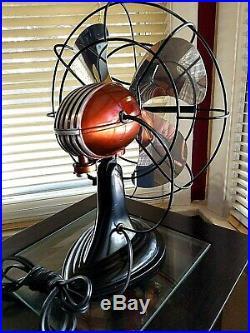 Vintage 1950's Westinghouse Electric Fan Art Deco, Rootbeer color, Refurbished